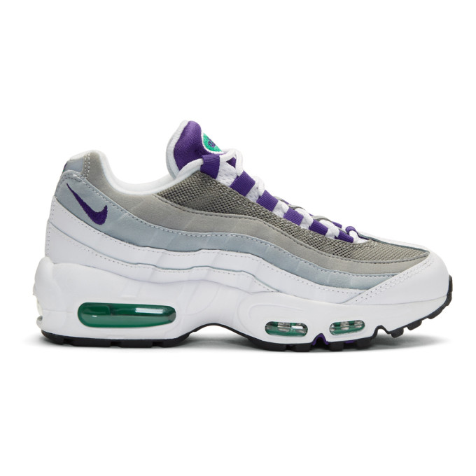 Nike White & Purple Air Max 95 Sneakers