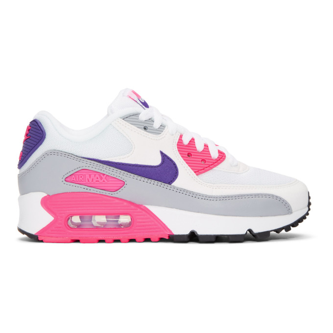 Nike White & Pink Air Max 90 Sneakers