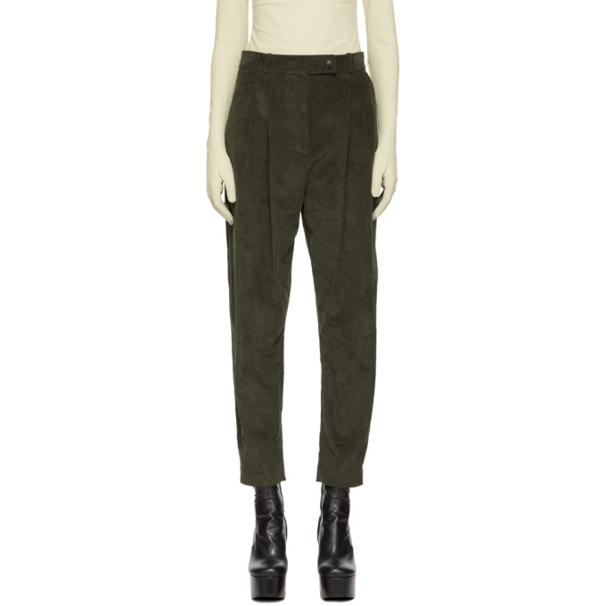 A.W.A.K.E. Green Tapered Double Pleat Trousers