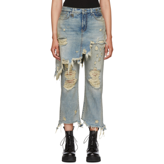 Double Classic Ripped Crop Jeans in Leyton Blue