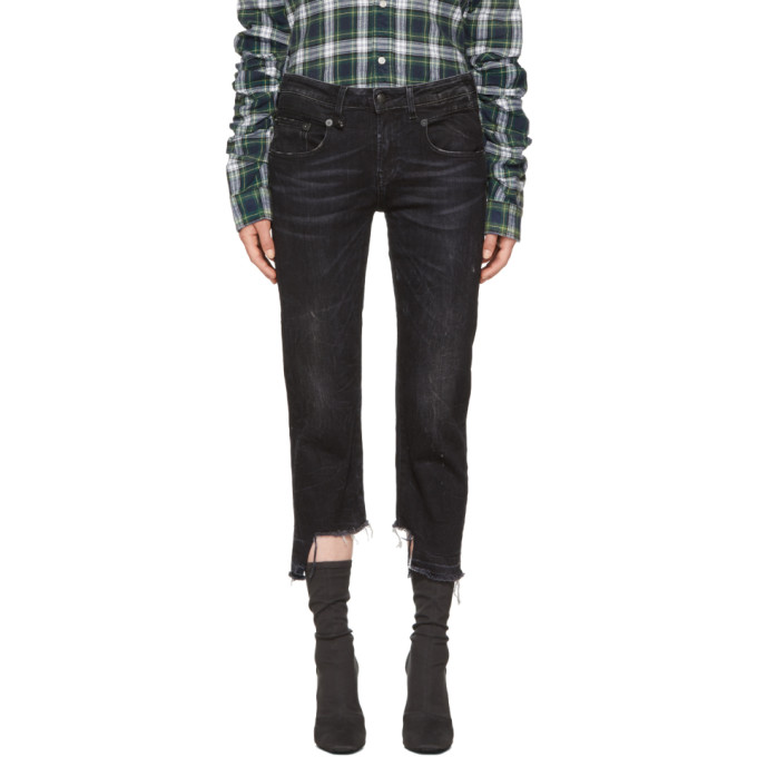 Image of R13 Black Boy Straight Uneven Hem Jeans