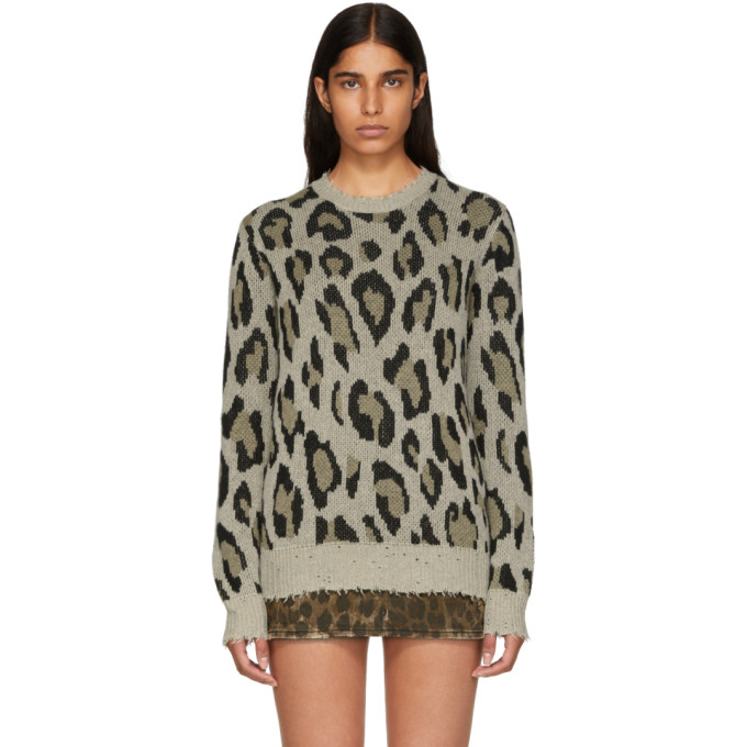 Image of R13 Beige Cashmere Leopard Sweater