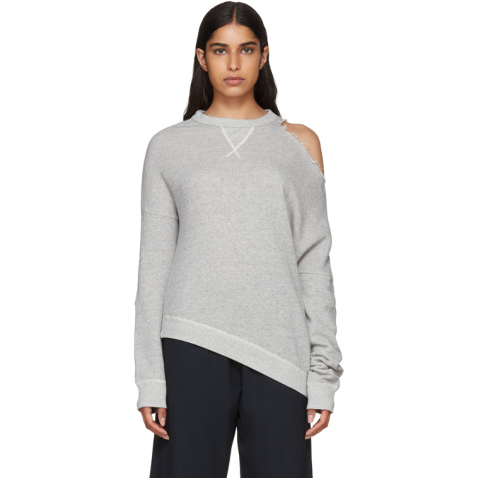 R13 GREY DISTORTED SWEATSHIRT
