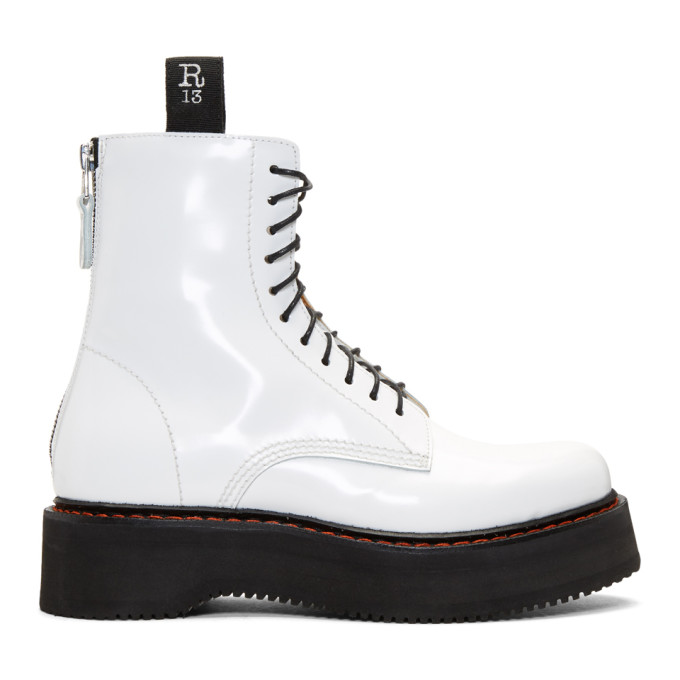 R13 White Single Stacked Boots