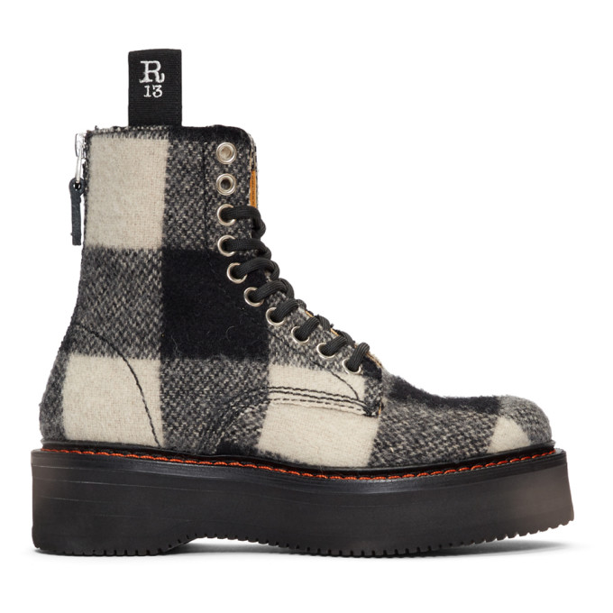 R13 Black & White Plaid Single Stack Boots