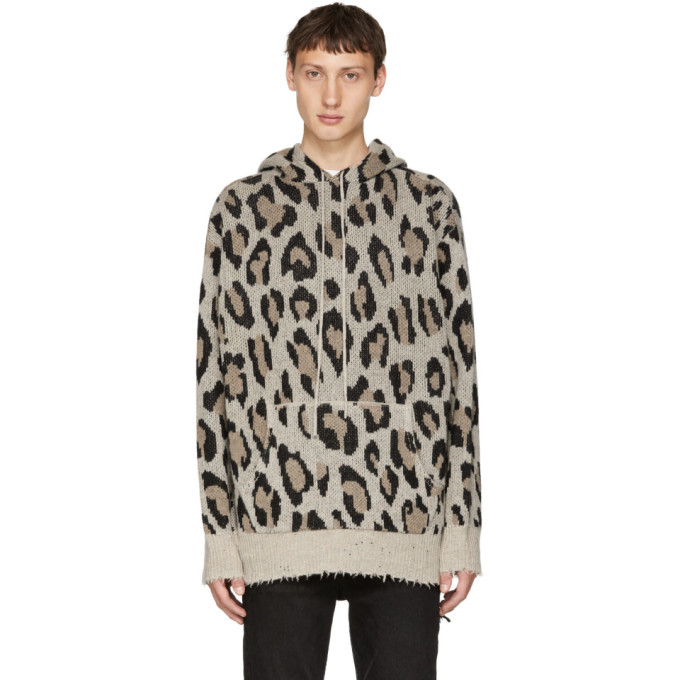 Image of R13 Beige Leopard Cashmere Hoodie