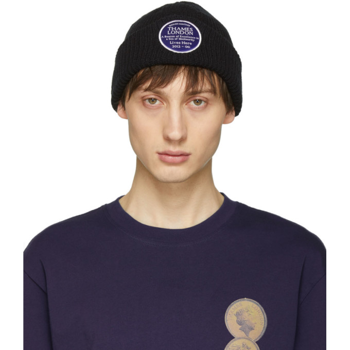 Image of Thames Black Plaque Beanie