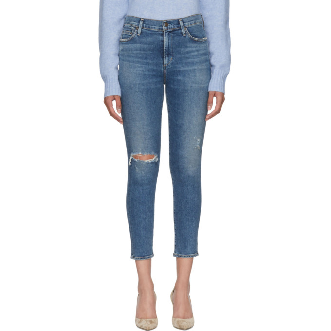 Image of Citizens of Humanity Blue Rocket Crop Skinny Jeans