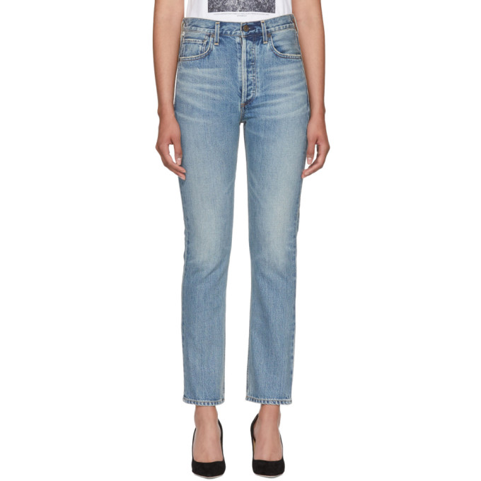 Image of Citizens of Humanity Blue Charlotte High-Rise Straight Jeans