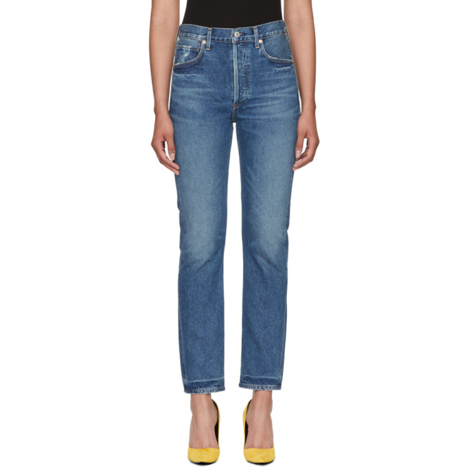 Image of Citizens of Humanity Blue Charlotte Straight Jeans