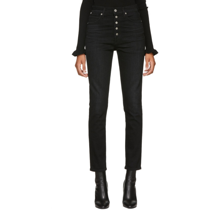 Olivia High Waist Slim Jeans in Licorice