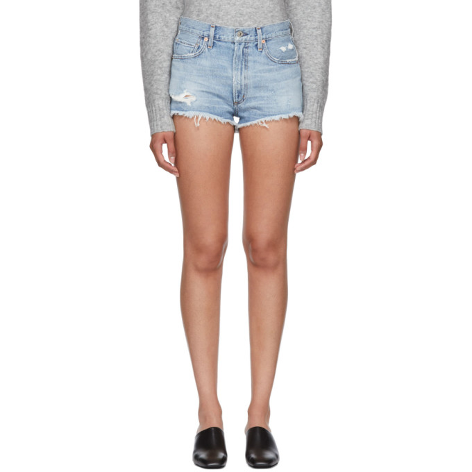 Image of Citizens of Humanity Blue Danielle Cut-Off Shorts