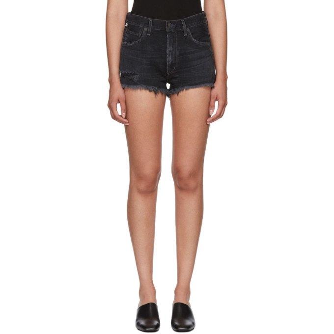 Image of Citizens of Humanity Black Danielle Cut-Off Shorts