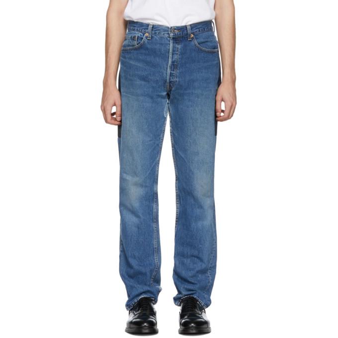 Image of B Sides Indigo Patchwork Reverse Jeans