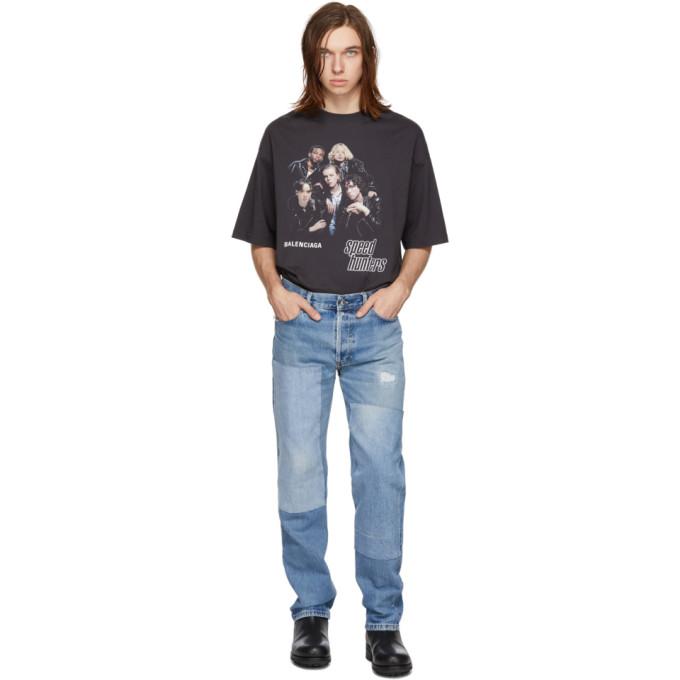 Image of B Sides Indigo Reworked Patchwork Jeans