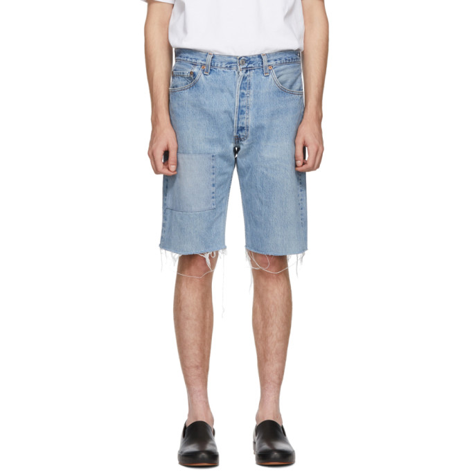 Image of B Sides Indigo Reworked Patchwork Seamed Shorts