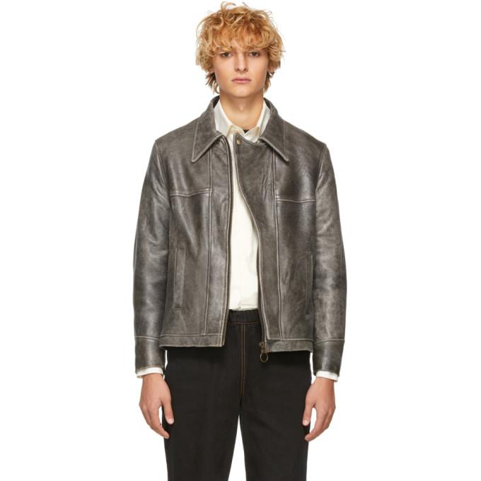 Image of St-Henri SSENSE Exclusive Black Leather Basement Jacket