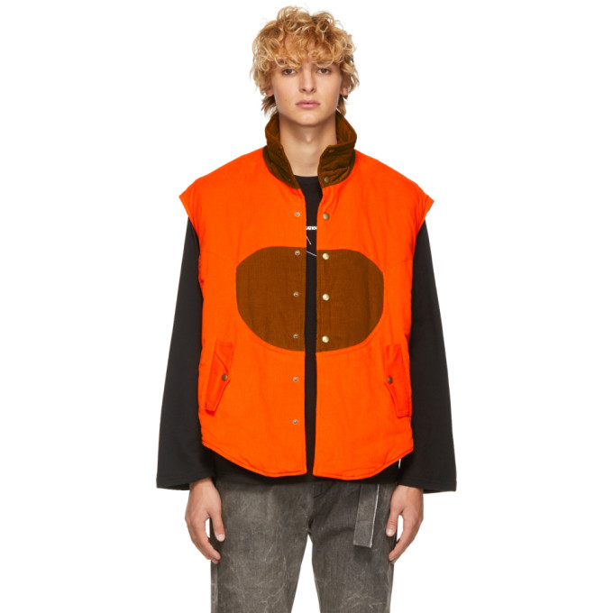 St-Henri Veste en velours cotele orange et brun clair Hunting exclusive a SSENSE