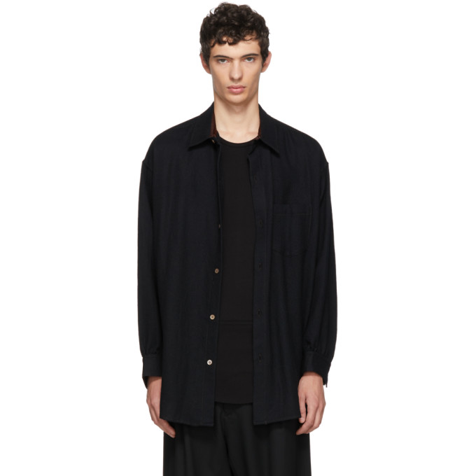 Sulvam ブラック ウール シャツ