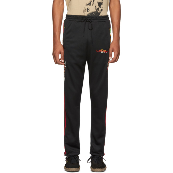 Image of Doublet Black Chaos Embroidery Track Pants