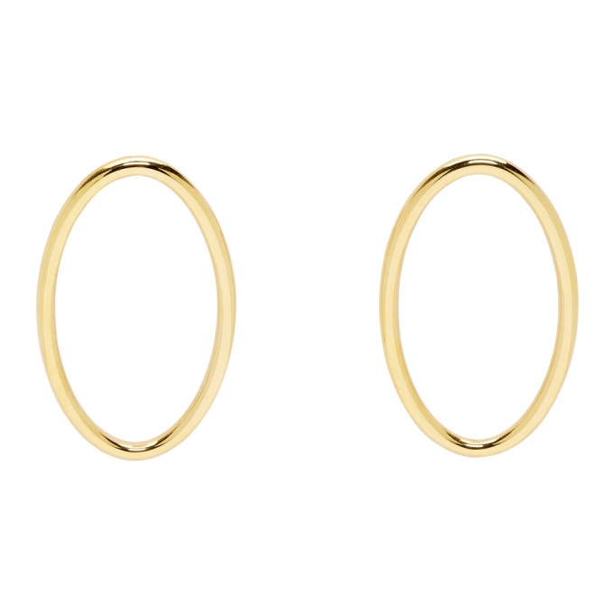 ALL BLUES GOLD LARGE ELLIPSE EARRINGS