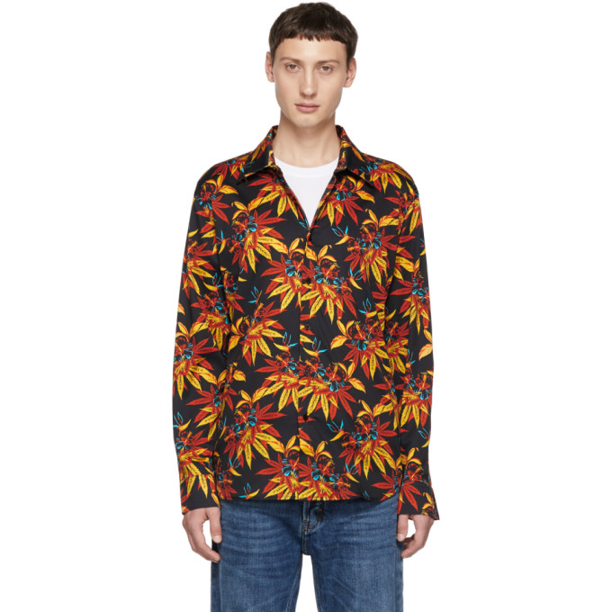 SSS World Corp Chemise a manches longues noire Weed Hibiscus