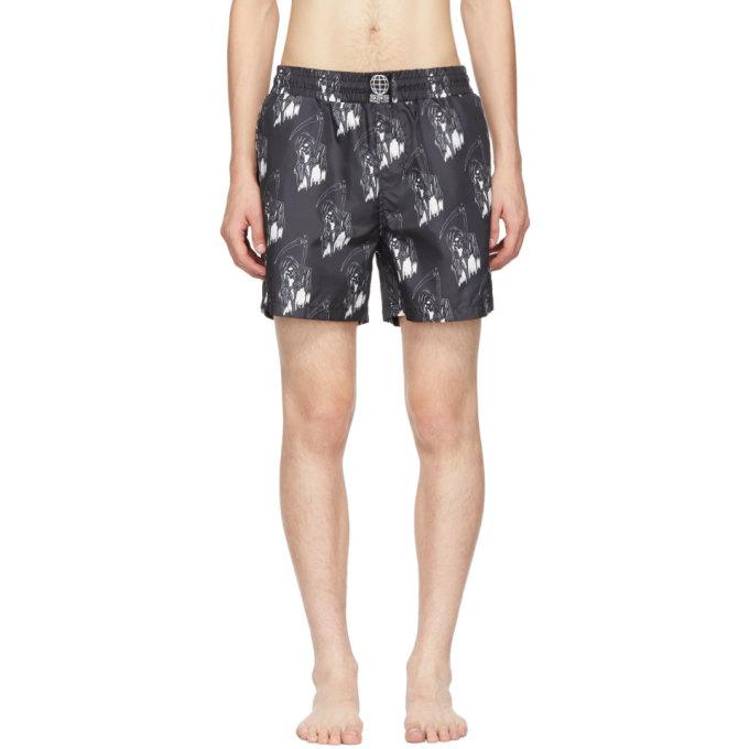 SSS WORLD CORP Printed Swim Shorts in Black
