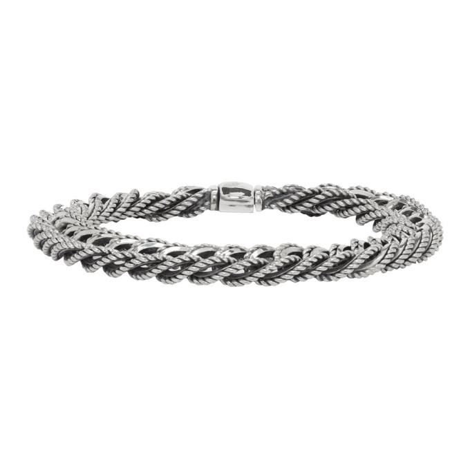 Image of Ugo Cacciatori Silver Braided Curb Chain Bracelet