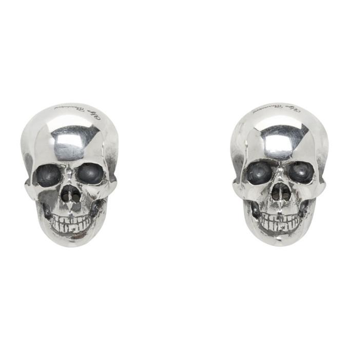 Image of Ugo Cacciatori Silver Half Skull Stud Earrings
