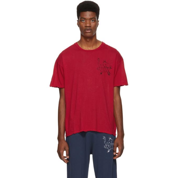 Adaptation T-shirt en coton et cachemire rouge LA