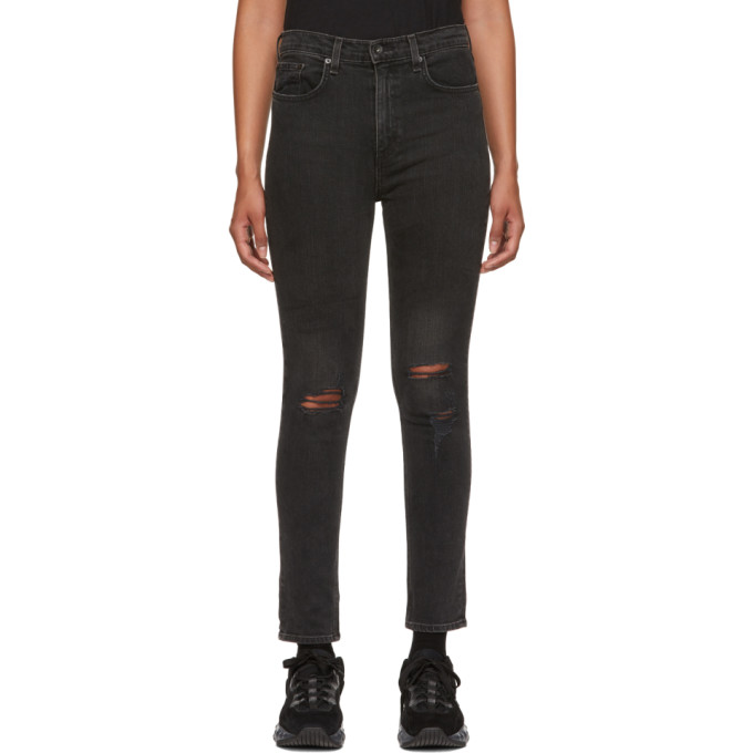 Rag & Bone Black Destruction High Rise Ankle Skinny Jeans