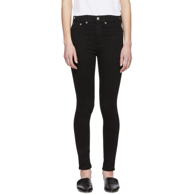 Rag & Bone Black High Rise Ankle Skinny Jeans