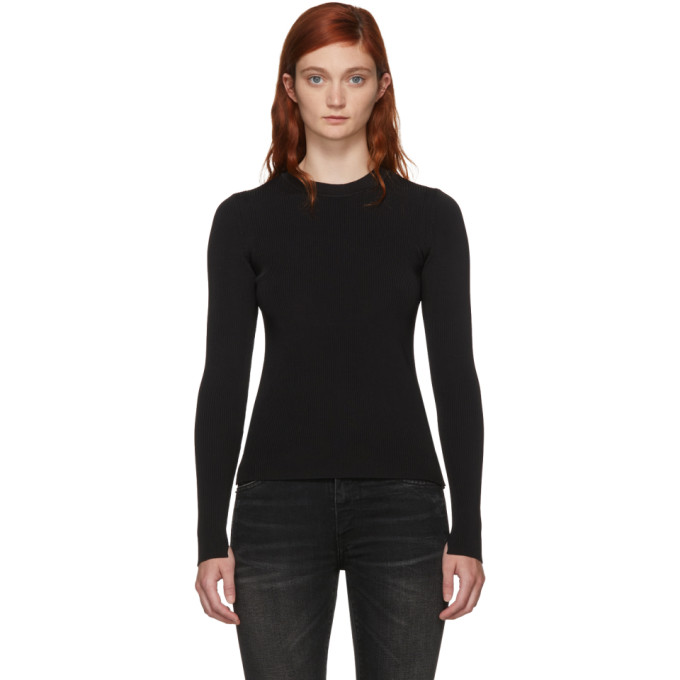 Rag & Bone Black Ribbed Sylvie Sweater