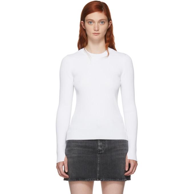 Rag & Bone White Ribbed Sylvie Sweater