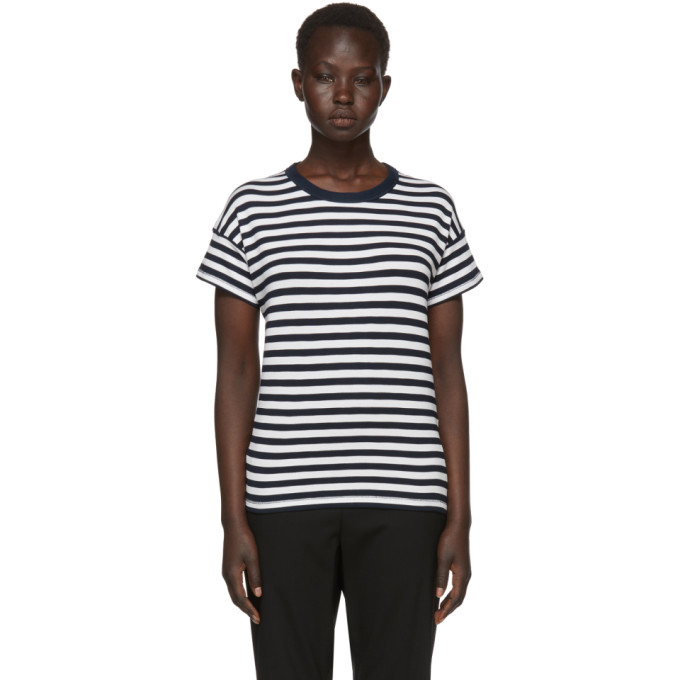 Rag & Bone Navy & White Striped Kat Split Back T-Shirt