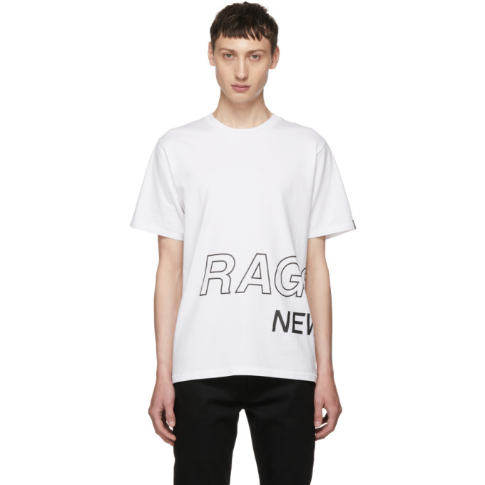 Rag & Bone ホワイト ラップ アラウンド ロゴ T シャツ