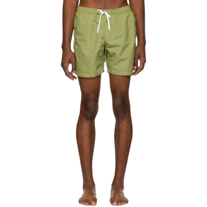 BATHER Bather Green Solid Swim Shorts in Olive