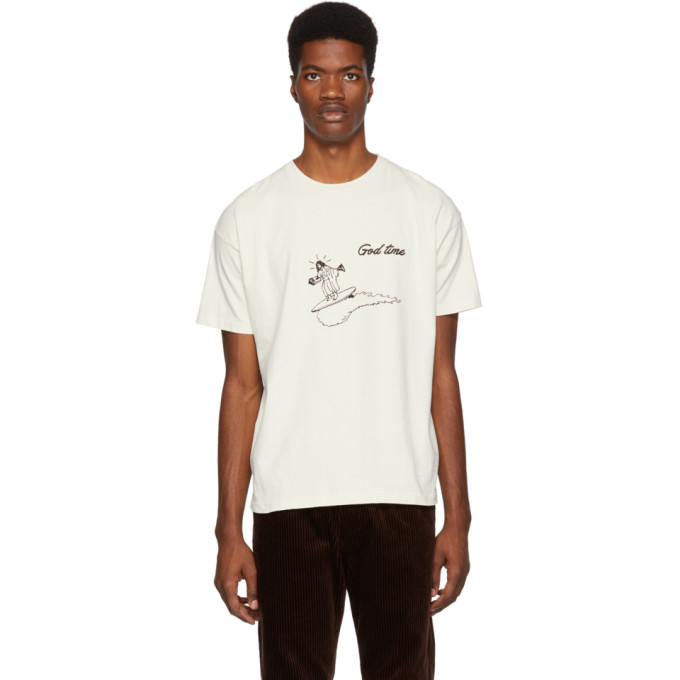 REMI RELIEF Remi Relief Off-White God Time T-Shirt in Off White