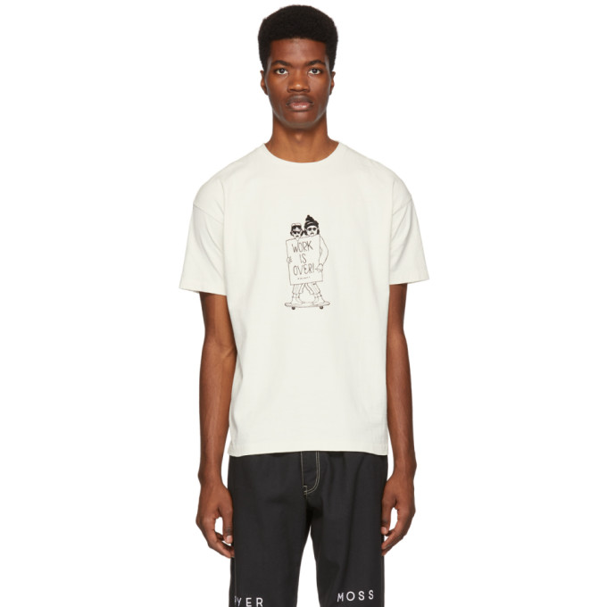 REMI RELIEF Remi Relief Off-White Work Is Over T-Shirt in Off White