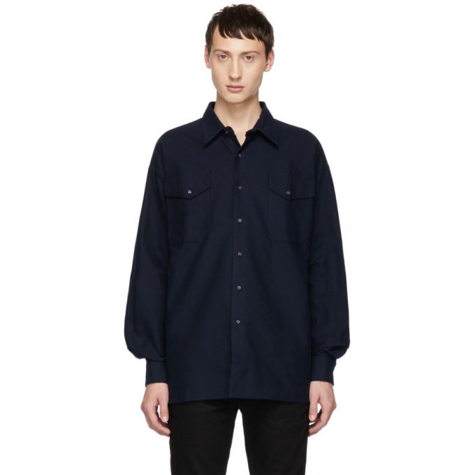 KOZABURO Kozaburo Navy Flannel Boxy Fit Shirt