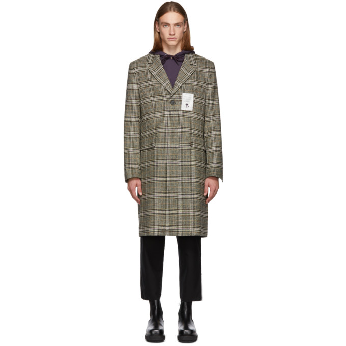 L'HOMME ROUGE Lhomme Rouge Brown Check Sense Coat