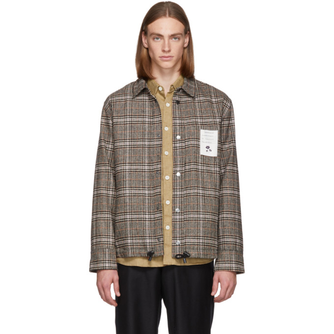LHOMME ROUGE Lhomme Rouge Brown Check Pull Jacket