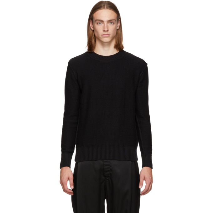 L'HOMME ROUGE Lhomme Rouge Black Inverted Sweater in Black 19