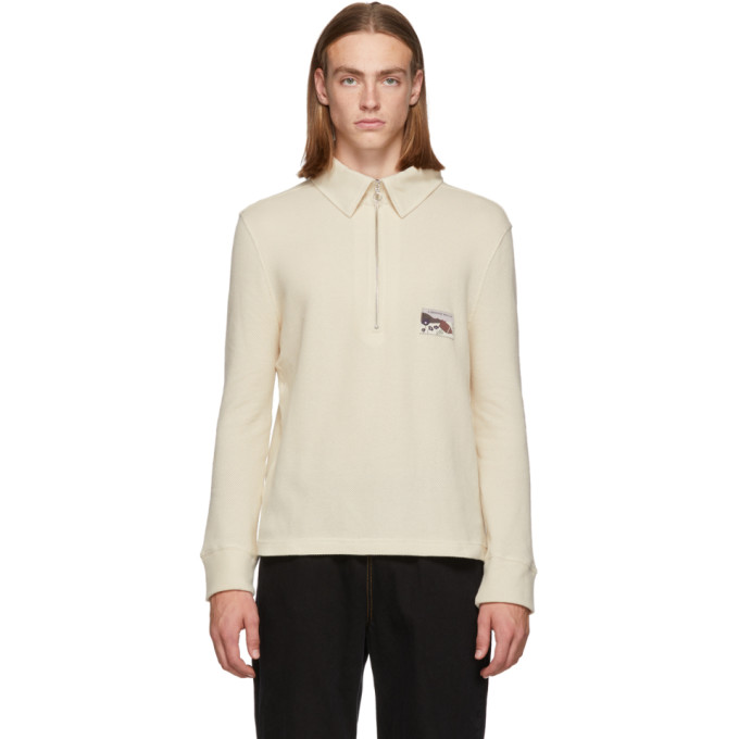LHOMME ROUGE Lhomme Rouge Off-White Mountain Polo Sweater in Milk Almond