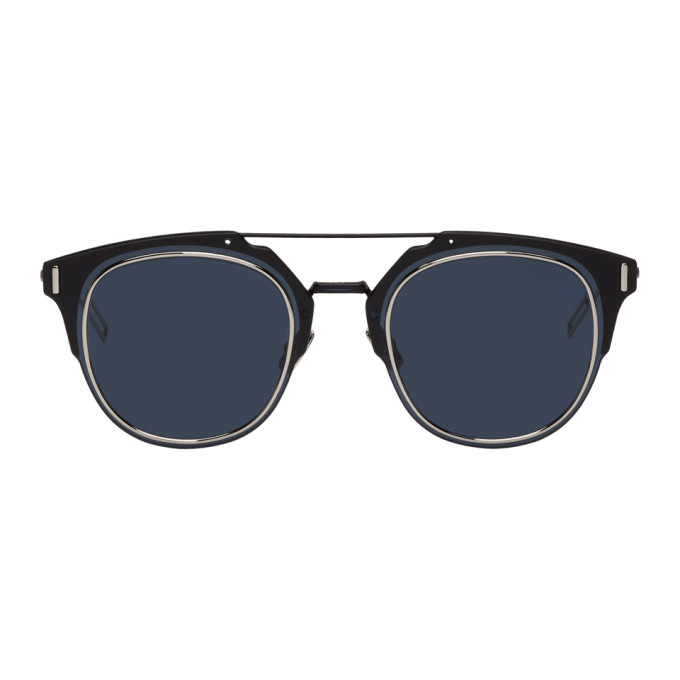 Image of Dior Homme Navy 'Dior Composit 1.0' Sunglasses
