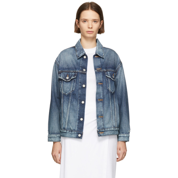 Moussy Vintage Blue Denim Mars Trucker Jacket in D/Blu