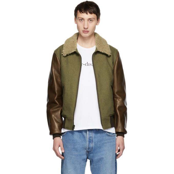 Image of Schott Green & Brown B-15 Jacket