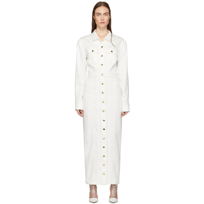 Kreist Robe longue en denim blanche exclusive a SSENSE