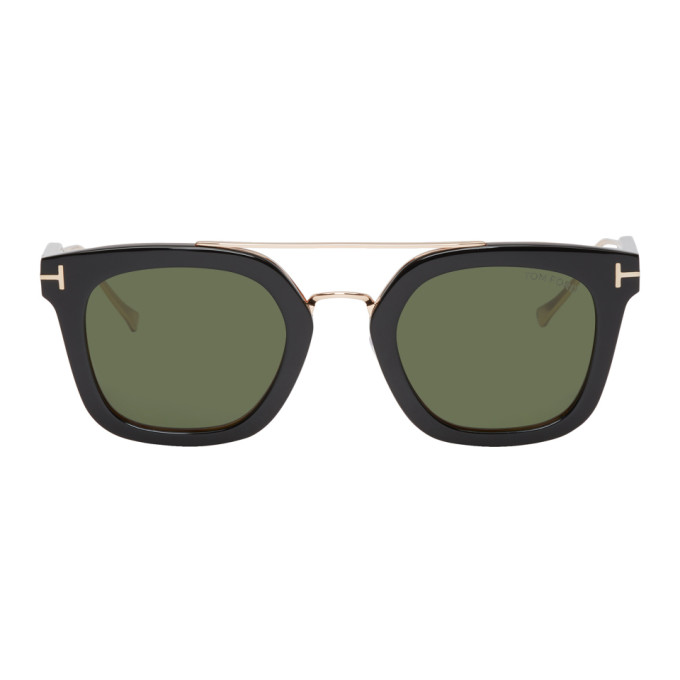 Image of Tom Ford Black & Gold Alex-02 Sunglasses