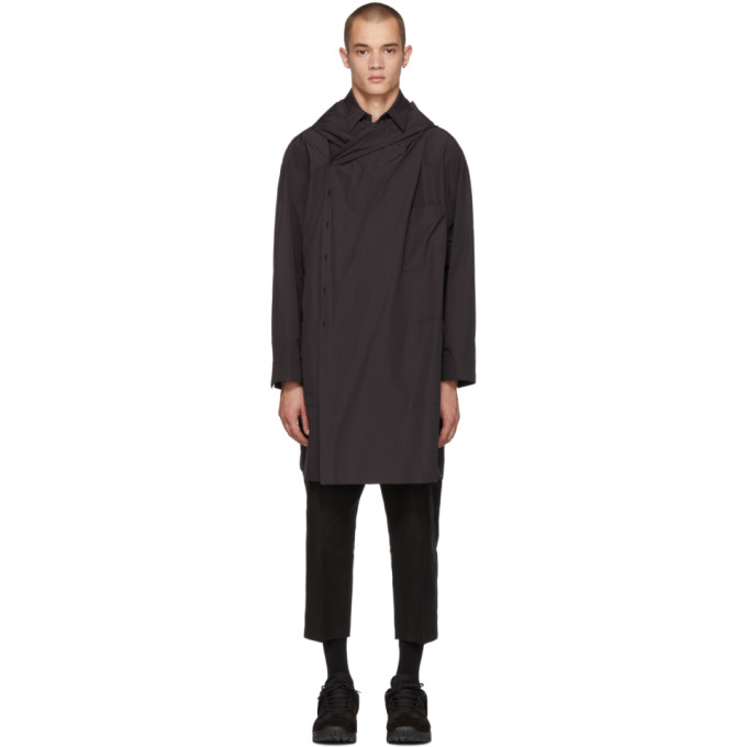 Image of ALMOSTBLACK Black Hooded Drapped Coat